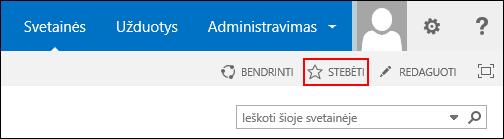 """Stebėkite """"SharePoint Online"""" svetainę ir įtraukite saitą į """"Office 365"""" puslapį Svetainės."""