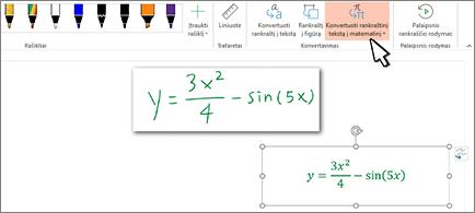 Ranka užrašyta lygtis ir ta pati lygtis, konvertuota į formatuotą tekstą ir skaičius
