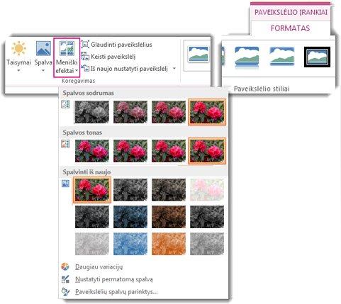 Spalvų mygtukų meniu, atidarytas iš dalies Paveikslėlio įrankiai skirtuko Formatavimas