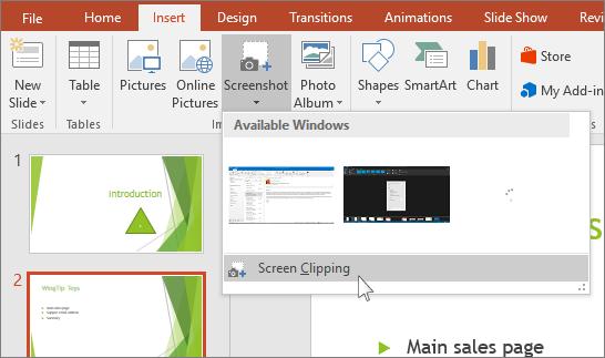 """ekrano iškarpų išplečiamasis meniu programoje """"PowerPoint"""""""