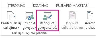 """""""Word"""" programos skirtuko Paštas ekrano nuotrauka, kurioje rodoma paryškinta komanda Redaguoti gavėjų sąrašą."""