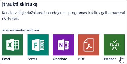 """Programos """"Teams"""" dialogo lango Skirtuko pridėjimas ekrano kopija"""