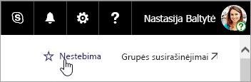 Ekrano nuotrauka apie mygtuką Stebėti SharePoint svetainėje.