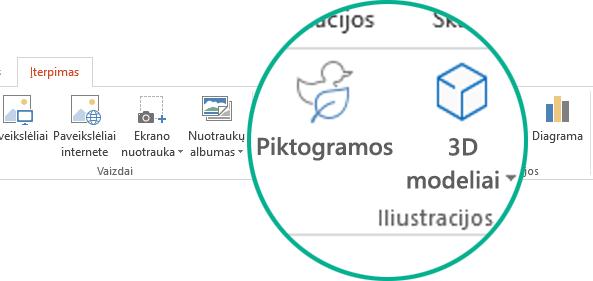 """Piktogramų ir trimačių modelių mygtukai """"Office 365"""" įrankių juostelės skirtuke Įterpimas"""