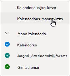 Ekrano nuotrauka Kalendoriaus importavimas