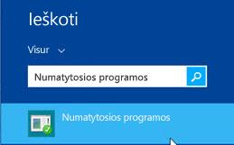 Numatytųjų programų ekrano kopija