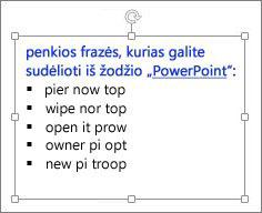"""Formatavimas """"PowerPoint"""" teksto lauke"""