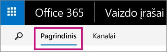 """Mygtukas Pagrindinis """"Office 365"""" vaizdo įrašų portalo viršutinėje naršymo juostoje"""