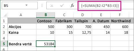 Tipiška masyvo formulė