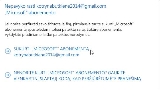 """Sukurti """"Microsoft"""" abonementą"""