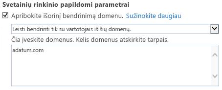 Ekrano nuotrauka tik domeno dalį svetainių rinkinio parametrai dialogo langas.