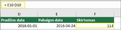 Langelis D10 su 1/1/2016, langelis E10 su 4/24/2016, langelis F10 su formule: =E10-D10, o rezultatas 114