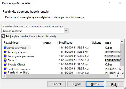 Duomenų ryšio vedlys ekrano 2