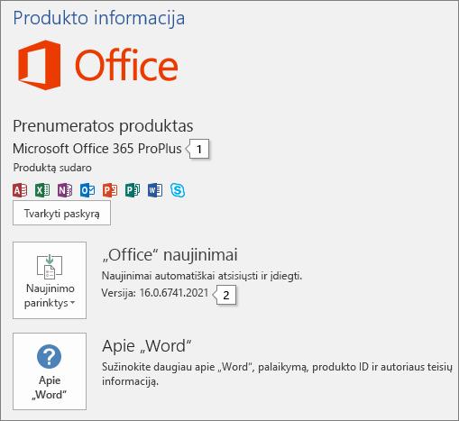 """Puslapio Paskyra su """"Office"""" produkto pavadinimu ir visu versijos numeriu ekrano nuotrauka"""