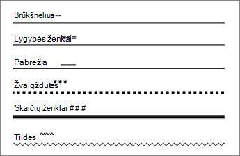 Eilučių lentelė, kurioje įvesti tam tikri simboliai 3 kartus kuriant