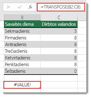 #VALUE! klaida naudojant TRANSPOSE