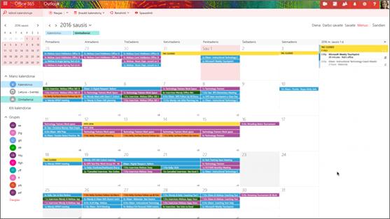 Grupės kalendorius su spalva nurodyti skirtingoms grupėms pavyzdys