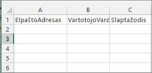 """Langelių antraštės """"Excel"""" perkėlimo faile."""