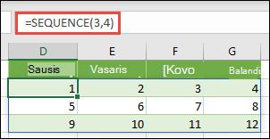 3 eilutės kūrimas 4 stulpelių masyvo konstanta su = seka (3, 4)
