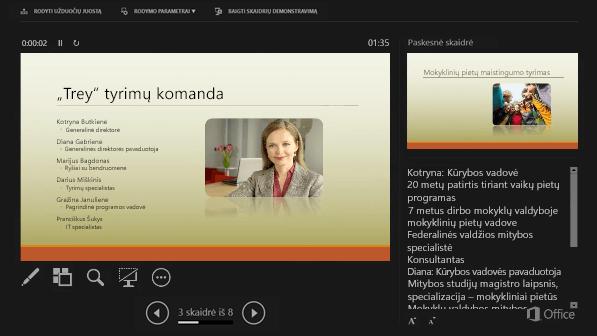 """Pranešėjo rodinys programoje """"PowerPoint 2016"""" su apskritimu aplink kalbėtojo pastabas"""