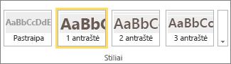 """Stilių grupės, esančios """"SharePoint Online"""" juostelėje, su pasirinktu stiliumi 1 antraštė ekrano kopija."""