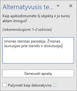 """Dialogo langas Alternatyvusis tekstas programoje """"Word"""", skirtoje """"Windows"""""""