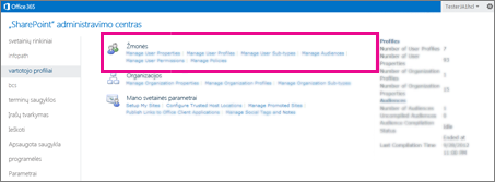 """""""SharePoint Online"""" administravimo centro su pasirinktu vartotojų profilių puslapiu ekrano kopija."""