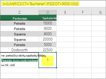 3 pavyzdys: SUM ir IF įdėtoji formulėje