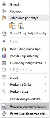 """""""PowerPoint"""" """"Win32"""" redaguoti alternatyviojo teksto meniu su diagramomis"""