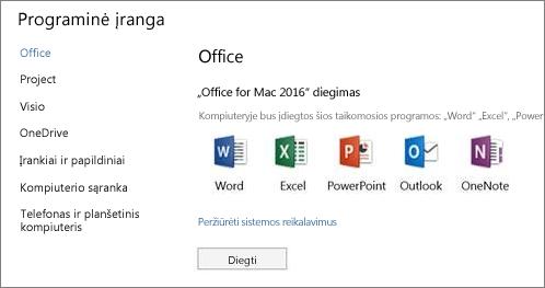 """""""Office 365"""" parametrų programinės įrangos diegimo ekranas """"Mac"""" kompiuteryje"""