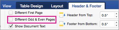 Parinktis Skirtingi lyginiai ir nelyginiai puslapiai paryškinta skirtuke Antraštės ir poraštės