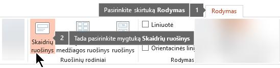 """Naudokite skirtuką programoje """"PowerPoint"""", kad pereitumėte į skaidrių ruošinio rodinį"""