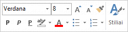 The mini toolbar for formatting message text