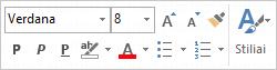 Pranešimo teksto formatavimo Mažoji įrankių juosta