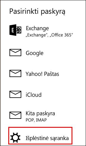 Išplėstinė sąranka pašto taikomojoje programoje