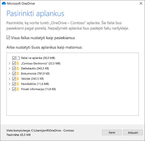"""Vediklio """"Sveiki! Čia """"OneDrive"""" ekrano """"Sinchronizuoti failus iš """"OneDrive"""" nuotrauka"""