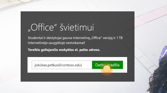 Darbo pradžios prisijungimo puslapio ekrano nuotrauka.