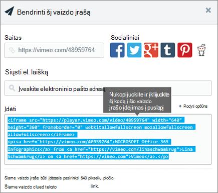 Pavyzdys, naudojant įdėjimo kodą ir įdėti SharePoint puslapio turinys