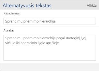 """""""Word Mobile"""" alternatyviojo teksto dialogo lango su Pavadinimo ir Aprašo laukais krano nuotrauka."""