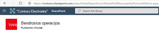 Dokumentų biblioteka su jos URL, rodomu adreso juostoje.