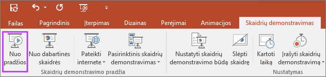 """Rodomas mygtukas """"nuo pradžių"""" skaidrių demonstravimo skirtuke programoje """"PowerPoint"""""""
