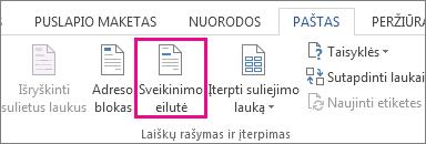 """Ekrano kopija, skirtuko pašto siuntimas programoje """"Word"""", kaip komanda Pasisveikinimo eilutė."""