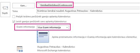 Kvietimas bendrinti pašto dėžutės el. paštą su išoriniais vartotojais – laukų Kam ir Išsami informacija parametras