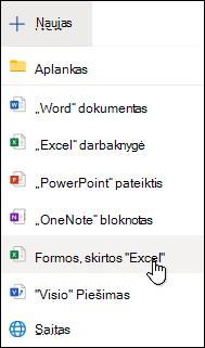 """Parinktis Įterpti """"Excel"""" formą programoje """"Excel Online"""""""