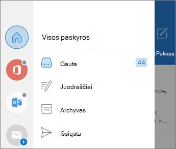 """Paskyrų įtraukimas į """"Outlook Mobile"""""""
