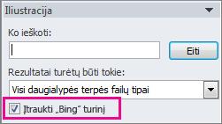 """Įtraukti """"Bing"""" turinio žymės langelį"""