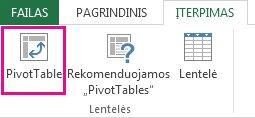 """""""PivotTable"""" mygtukas skirtuke Įterpti"""