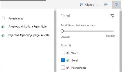 """Ekrano nuotrauka fitering bendrinama su manimi peržiūrėti """"OneDrive"""" verslui"""