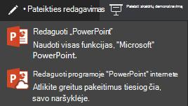 """Redagavimas naudojant """"PowerPoint Online"""""""