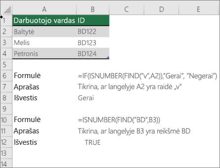 Pavyzdys, naudojant funkciją IF, ISNUMBER ir FIND, kad būtų galima patikrinti, ar dalis langelio atitinka konkretų tekstą
